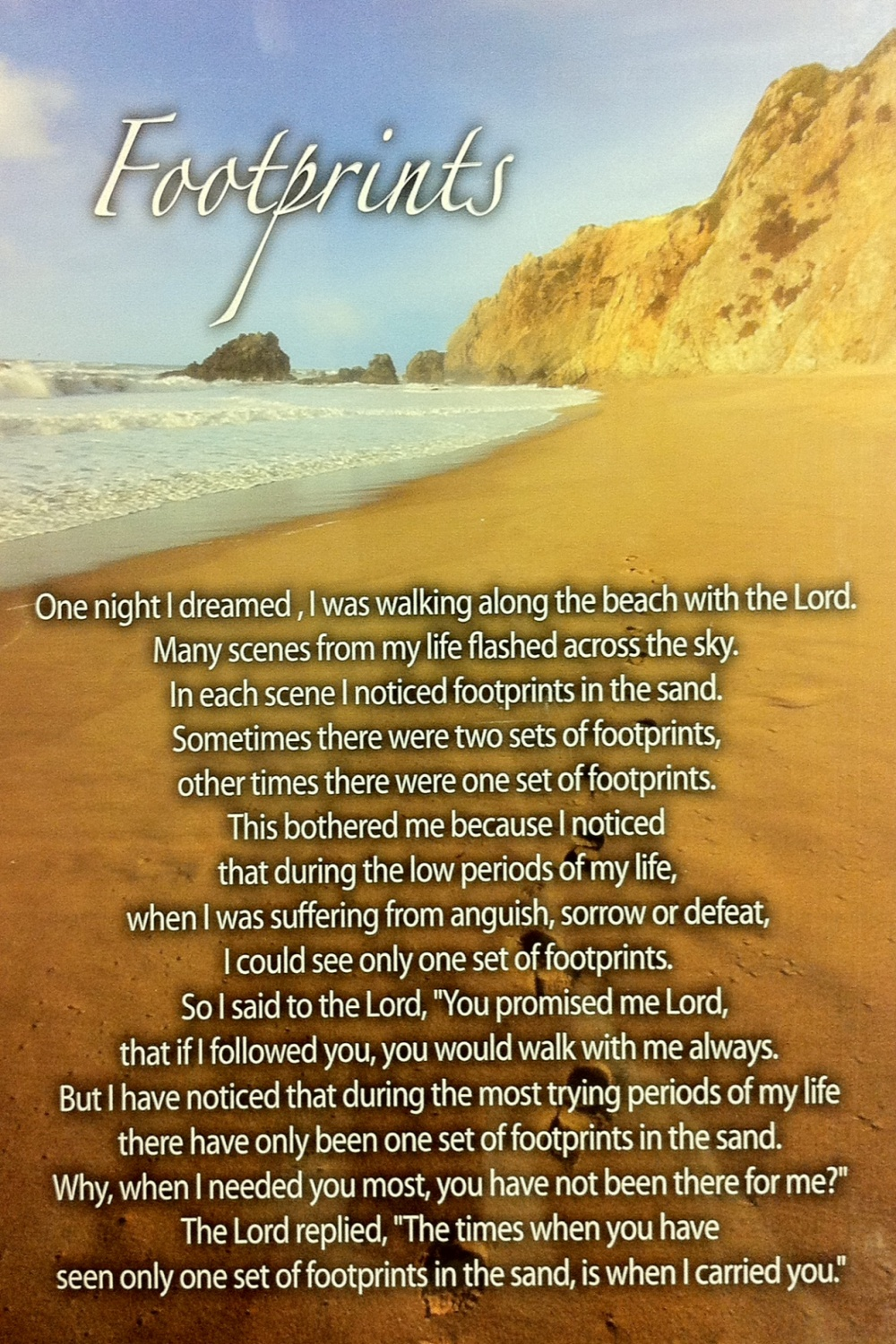 Footprints In The Sand Poem Text Picture Footprints